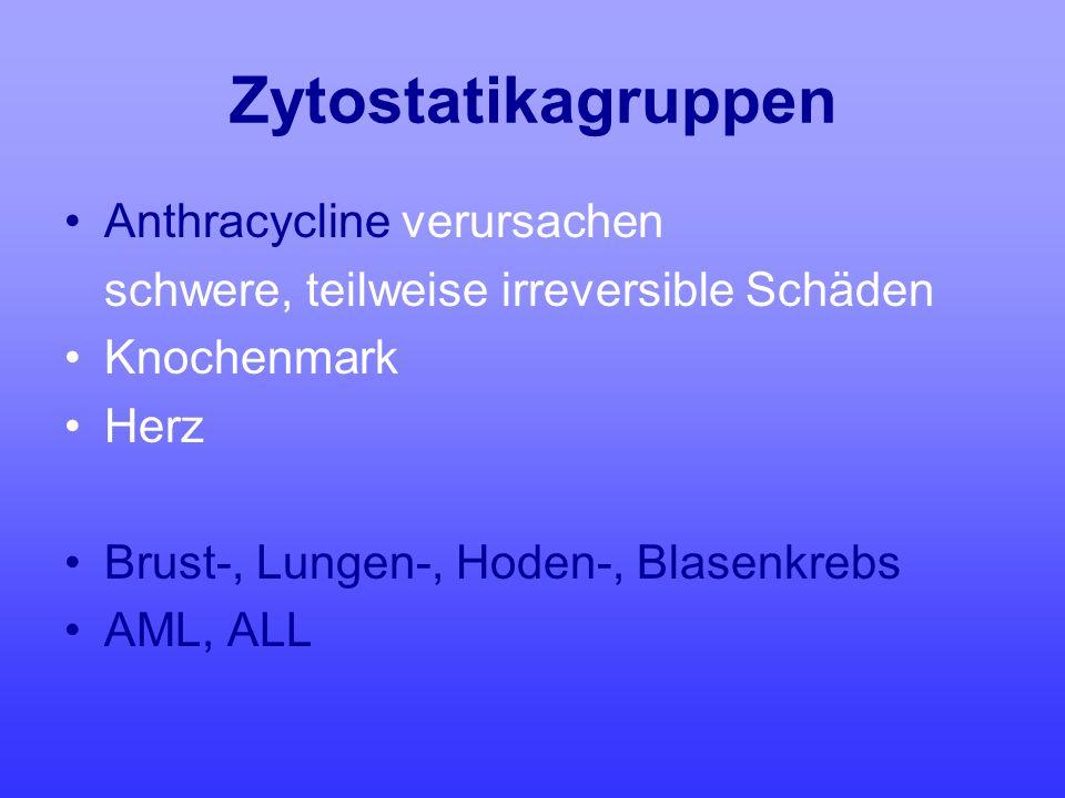 Zytostatikagruppen Anthracycline verursachen schwere, teilweise irreversible Schäden Knochenmark Herz Brust-, Lungen-, Hoden-, Blasenkrebs AML, ALL