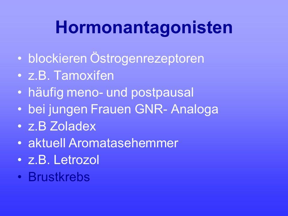 Hormonantagonisten blockieren Östrogenrezeptoren z.B. Tamoxifen häufig meno- und postpausal bei jungen Frauen GNR- Analoga z.B Zoladex aktuell Aromata