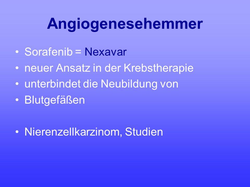 Angiogenesehemmer Sorafenib = Nexavar neuer Ansatz in der Krebstherapie unterbindet die Neubildung von Blutgefäßen Nierenzellkarzinom, Studien