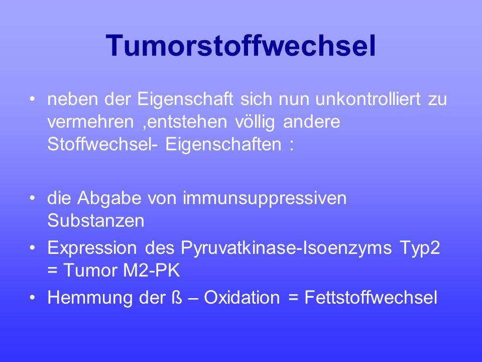 Tumorstoffwechsel neben der Eigenschaft sich nun unkontrolliert zu vermehren,entstehen völlig andere Stoffwechsel- Eigenschaften : die Abgabe von immu