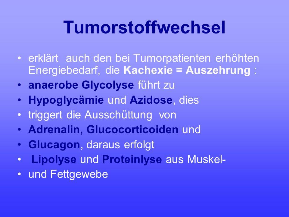 Tumorstoffwechsel erklärt auch den bei Tumorpatienten erhöhten Energiebedarf, die Kachexie = Auszehrung : anaerobe Glycolyse führt zu Hypoglycämie und
