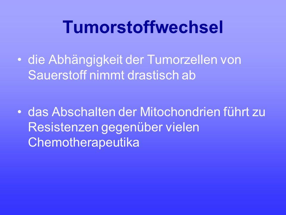 Tumorstoffwechsel die Abhängigkeit der Tumorzellen von Sauerstoff nimmt drastisch ab das Abschalten der Mitochondrien führt zu Resistenzen gegenüber v