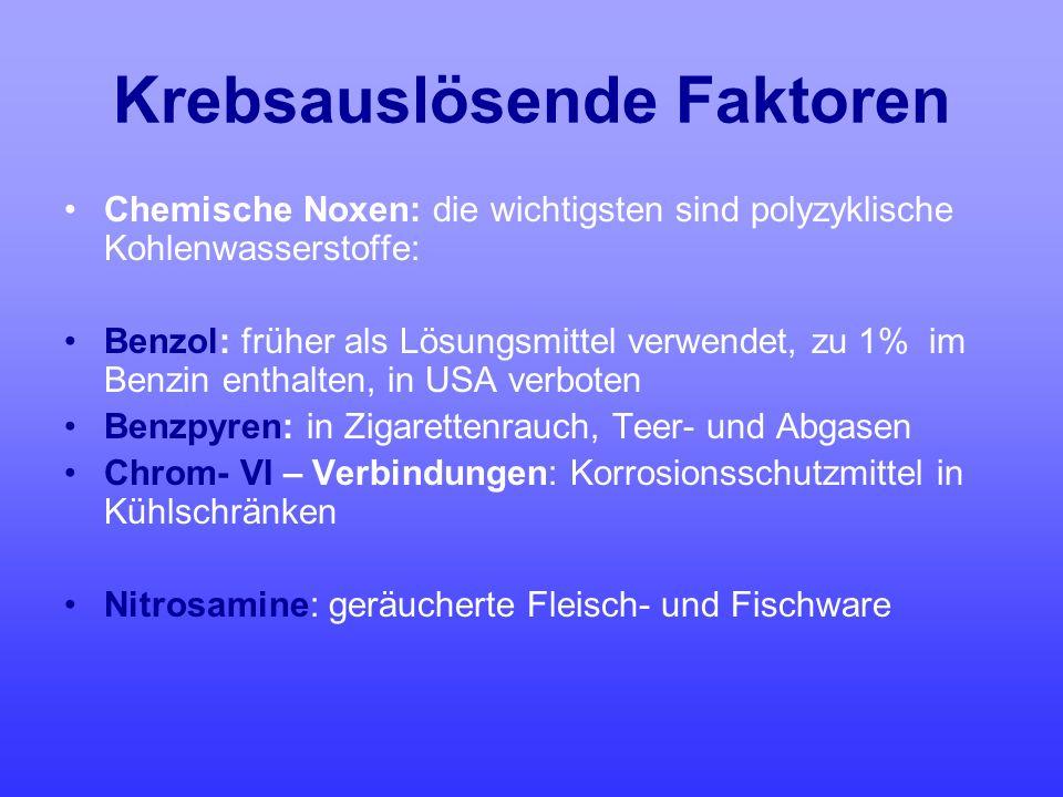 Krebsauslösende Faktoren Chemische Noxen: die wichtigsten sind polyzyklische Kohlenwasserstoffe: Benzol: früher als Lösungsmittel verwendet, zu 1% im
