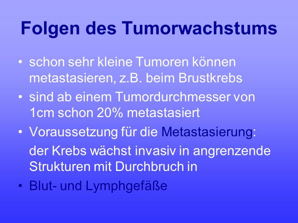 Folgen des Tumorwachstums schon sehr kleine Tumoren können metastasieren, z.B. beim Brustkrebs sind ab einem Tumordurchmesser von 1cm schon 20% metast