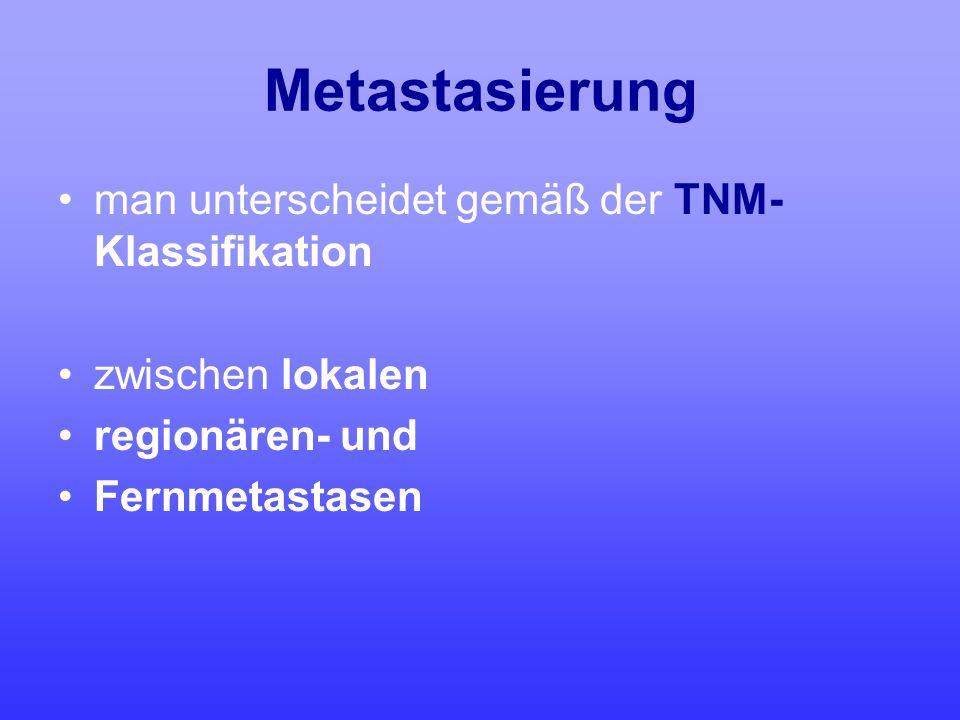 Metastasierung man unterscheidet gemäß der TNM- Klassifikation zwischen lokalen regionären- und Fernmetastasen