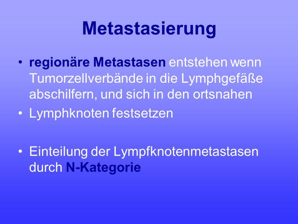 Metastasierung regionäre Metastasen entstehen wenn Tumorzellverbände in die Lymphgefäße abschilfern, und sich in den ortsnahen Lymphknoten festsetzen