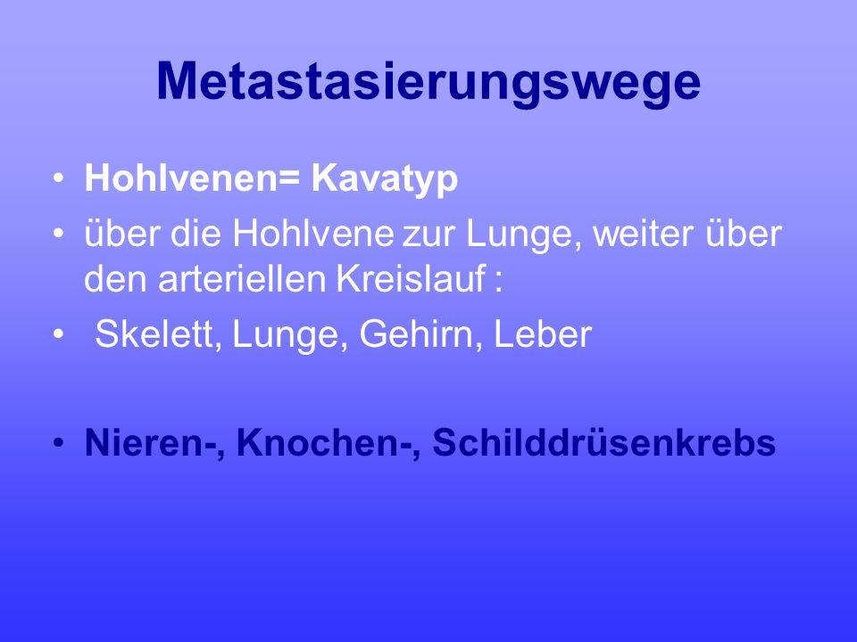 Metastasierungswege Hohlvenen= Kavatyp über die Hohlvene zur Lunge, weiter über den arteriellen Kreislauf : Skelett, Lunge, Gehirn, Leber Nieren-, Kno