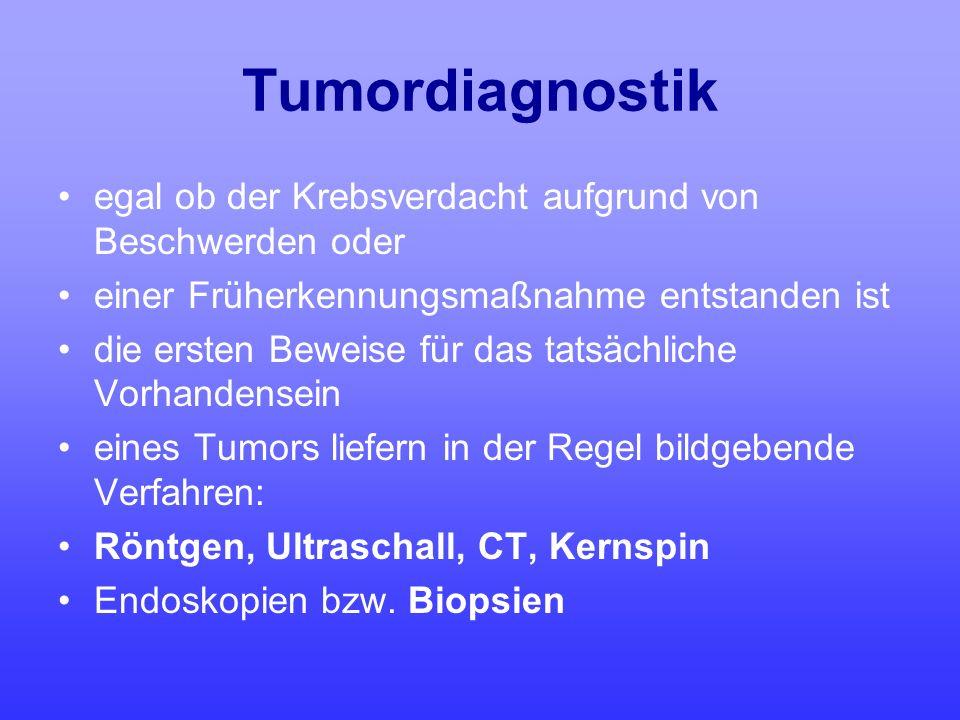 Tumordiagnostik egal ob der Krebsverdacht aufgrund von Beschwerden oder einer Früherkennungsmaßnahme entstanden ist die ersten Beweise für das tatsäch