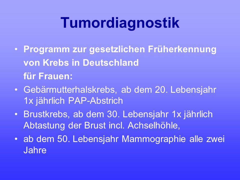 Tumordiagnostik Programm zur gesetzlichen Früherkennung von Krebs in Deutschland für Frauen: Gebärmutterhalskrebs, ab dem 20. Lebensjahr 1x jährlich P