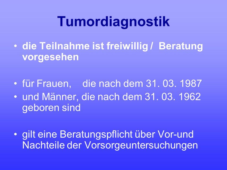 Tumordiagnostik die Teilnahme ist freiwillig / Beratung vorgesehen für Frauen, die nach dem 31. 03. 1987 und Männer, die nach dem 31. 03. 1962 geboren