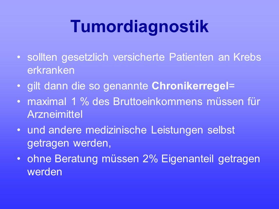 Tumordiagnostik sollten gesetzlich versicherte Patienten an Krebs erkranken gilt dann die so genannte Chronikerregel= maximal 1 % des Bruttoeinkommens