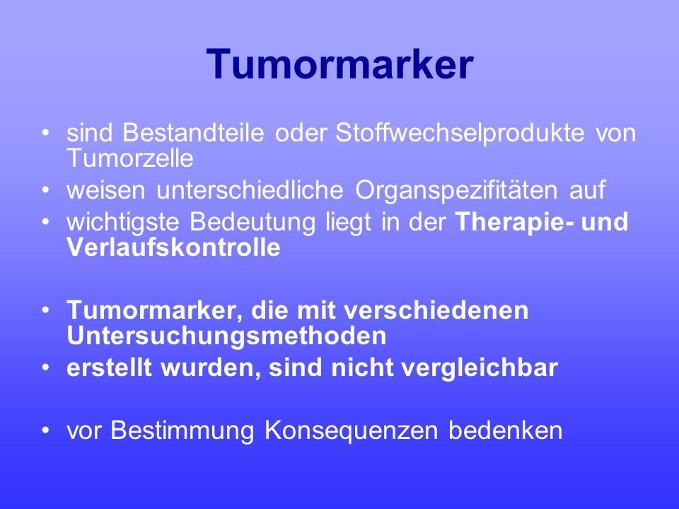 Tumormarker sind Bestandteile oder Stoffwechselprodukte von Tumorzelle weisen unterschiedliche Organspezifitäten auf wichtigste Bedeutung liegt in der