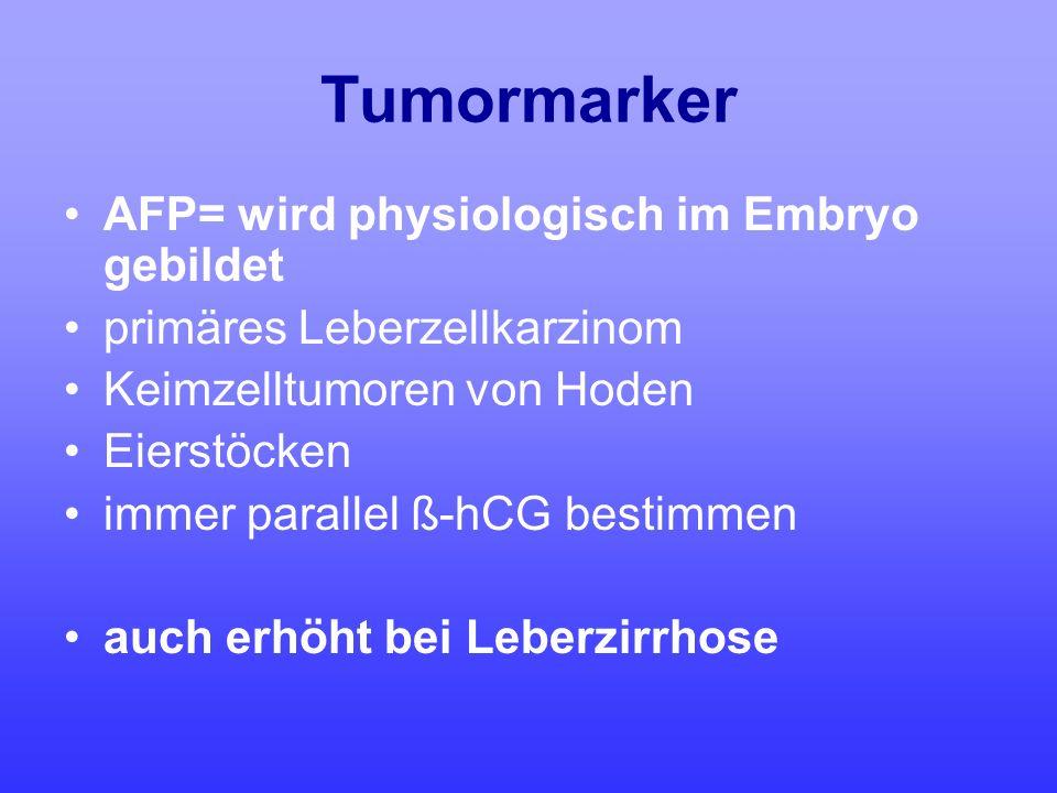 Tumormarker AFP= wird physiologisch im Embryo gebildet primäres Leberzellkarzinom Keimzelltumoren von Hoden Eierstöcken immer parallel ß-hCG bestimmen