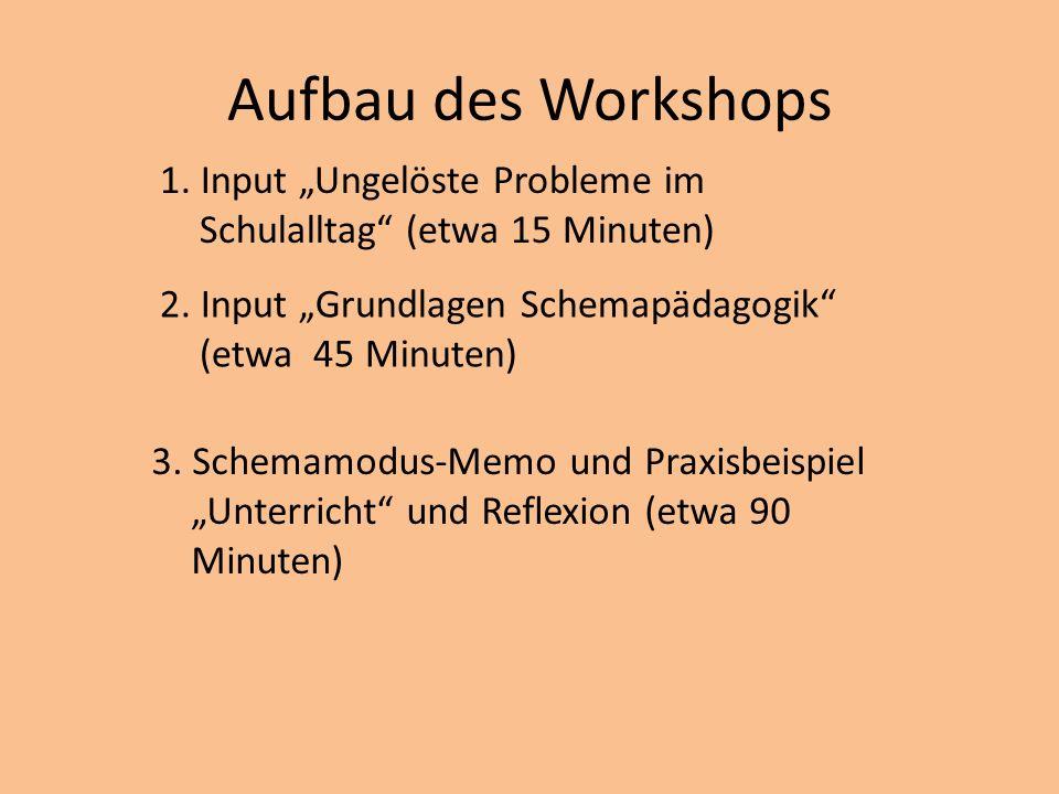 Aufbau des Workshops 1. Input Ungelöste Probleme im Schulalltag (etwa 15 Minuten) 2. Input Grundlagen Schemapädagogik (etwa 45 Minuten) 3. Schemamodus