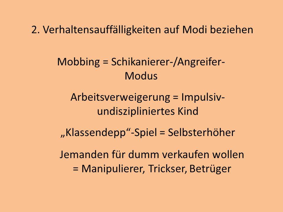 2. Verhaltensauffälligkeiten auf Modi beziehen Mobbing = Schikanierer-/Angreifer- Modus Arbeitsverweigerung = Impulsiv- undiszipliniertes Kind Klassen