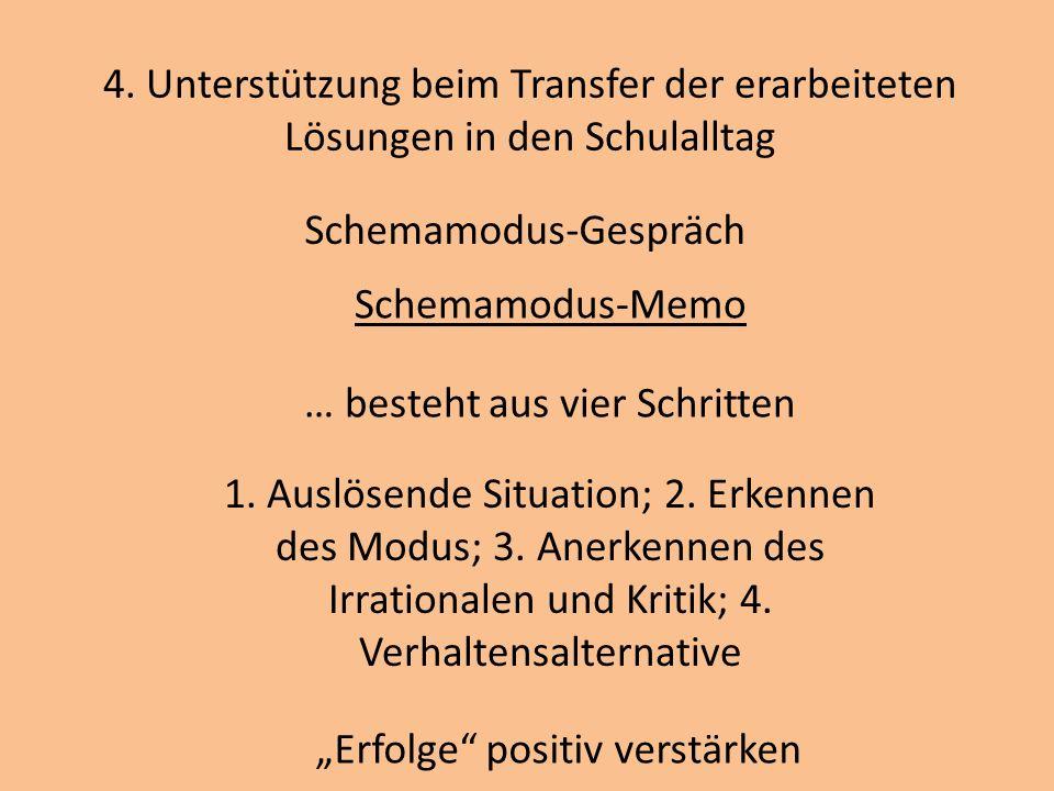 4. Unterstützung beim Transfer der erarbeiteten Lösungen in den Schulalltag Schemamodus-Gespräch Schemamodus-Memo … besteht aus vier Schritten 1. Ausl