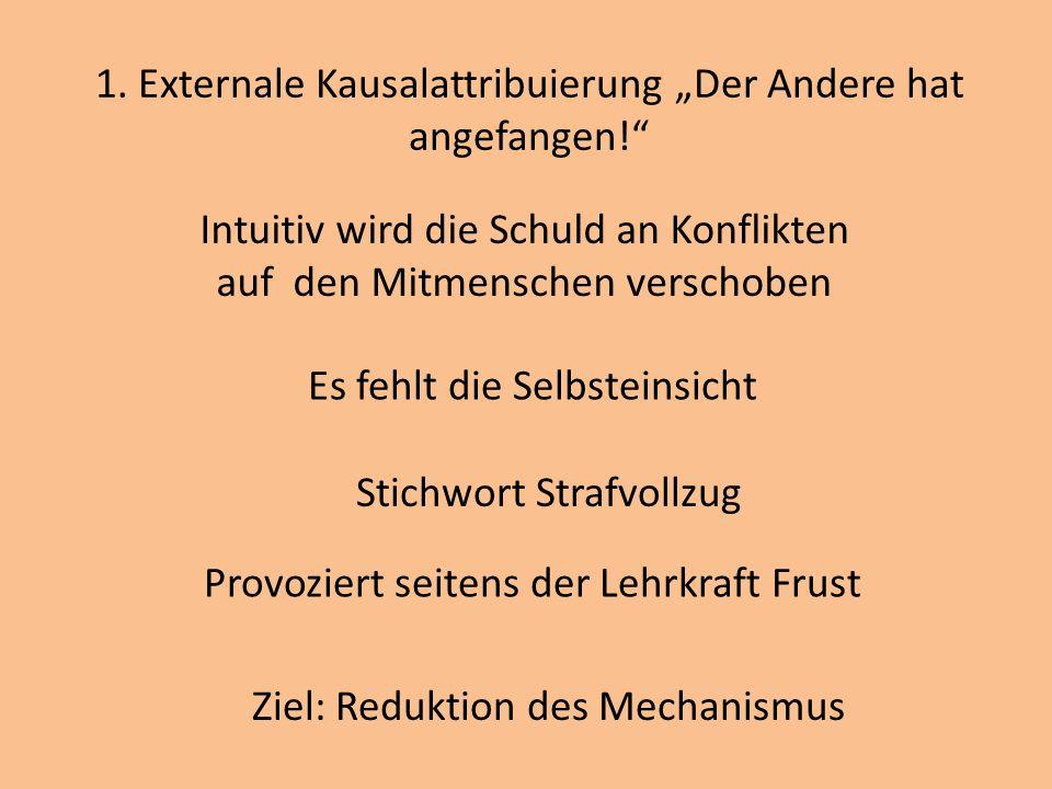 1. Externale Kausalattribuierung Der Andere hat angefangen! Intuitiv wird die Schuld an Konflikten auf den Mitmenschen verschoben Es fehlt die Selbste