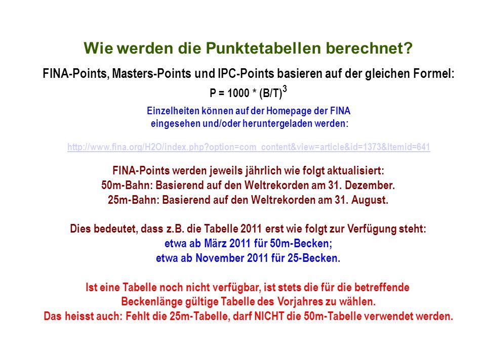 Wie werden die Punktetabellen berechnet? FINA-Points, Masters-Points und IPC-Points basieren auf der gleichen Formel: P = 1000 * (B/T) 3 Einzelheiten