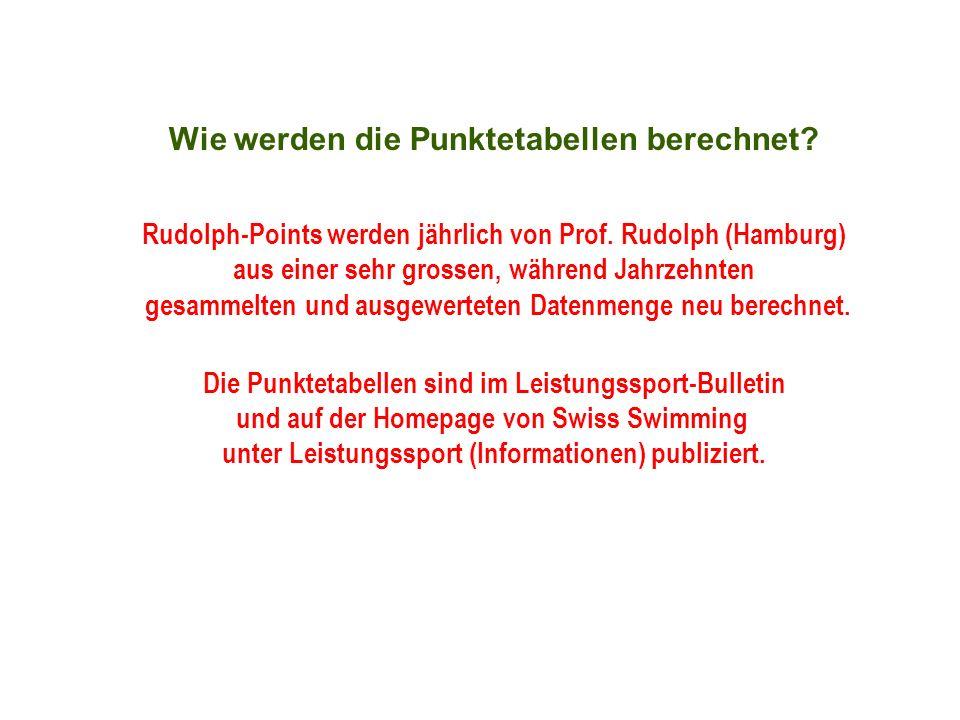 Wie werden die Punktetabellen berechnet? Rudolph-Points werden jährlich von Prof. Rudolph (Hamburg) aus einer sehr grossen, während Jahrzehnten gesamm