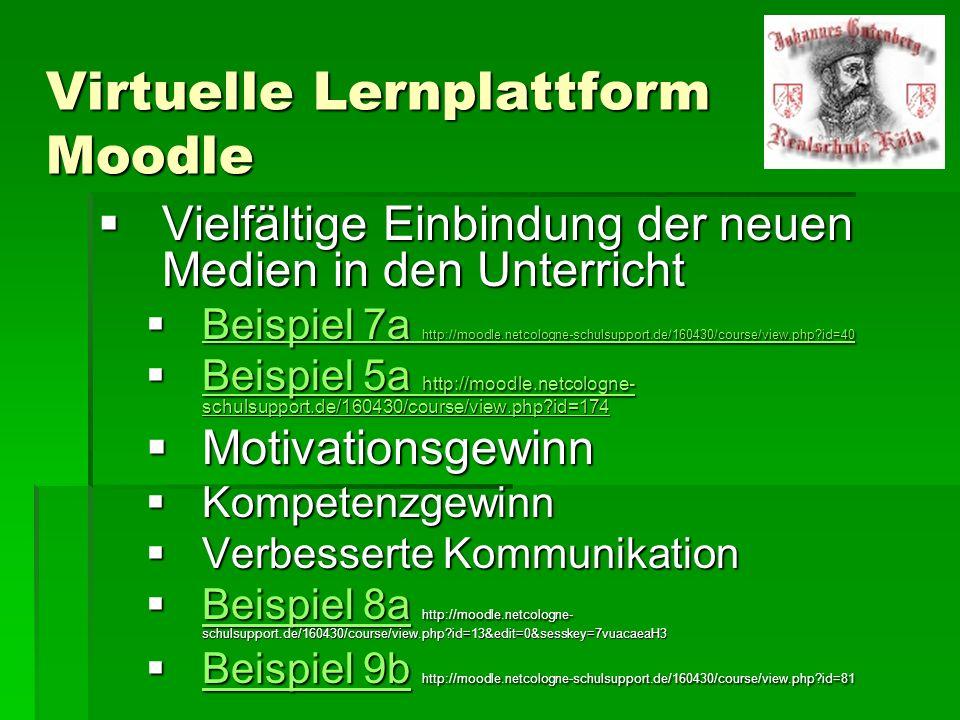 Virtuelle Lernplattform Moodle Vielfältige Einbindung der neuen Medien in den Unterricht Vielfältige Einbindung der neuen Medien in den Unterricht Bei