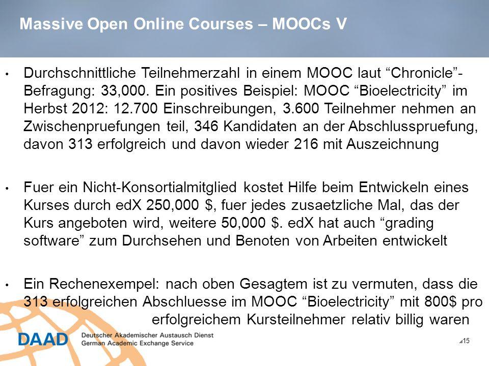 Massive Open Online Courses – MOOCs V 15 Durchschnittliche Teilnehmerzahl in einem MOOC laut Chronicle- Befragung: 33,000.