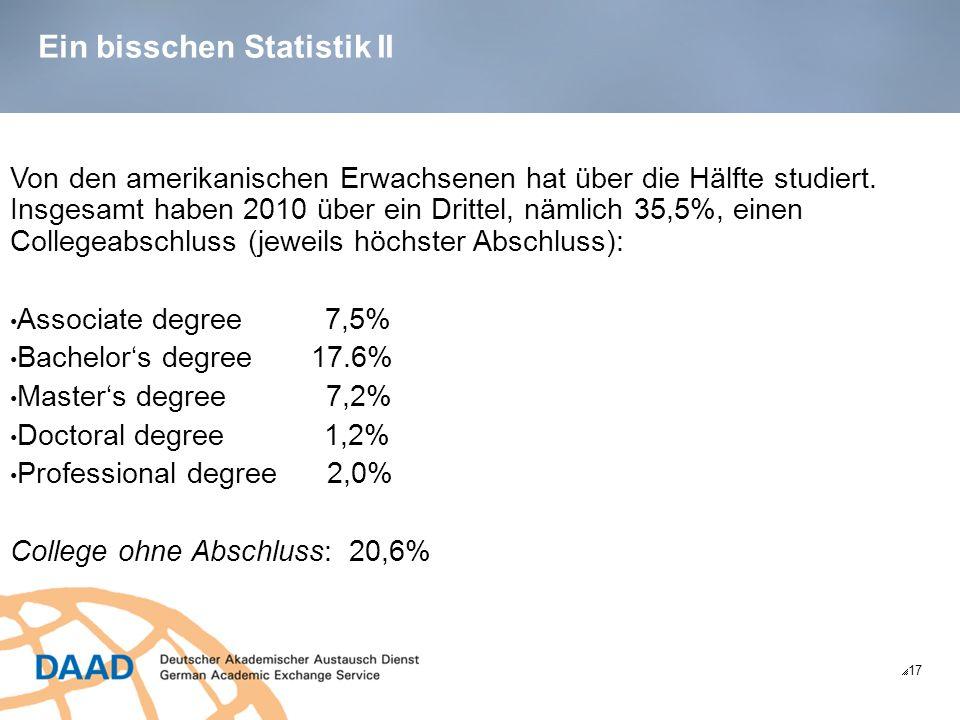 Ein bisschen Statistik II 17 Von den amerikanischen Erwachsenen hat über die Hälfte studiert.