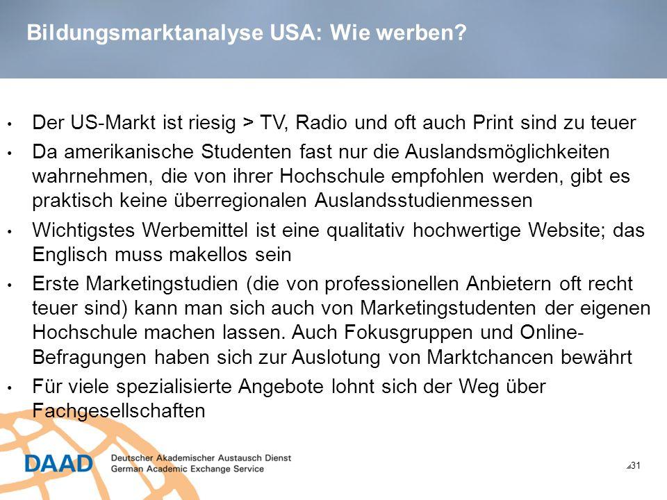 Bildungsmarktanalyse USA: Wie werben.