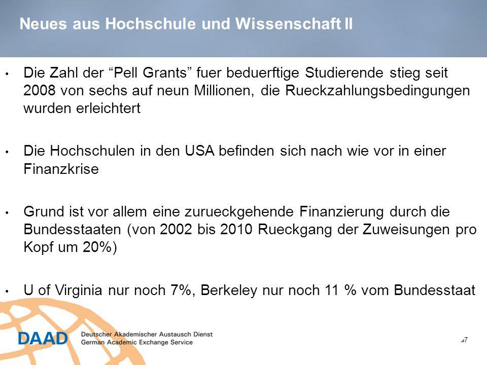 Neues aus Hochschule und Wissenschaft III 8 Folge: hohe Verschuldung amerikanischer Universitaeten, z.B.