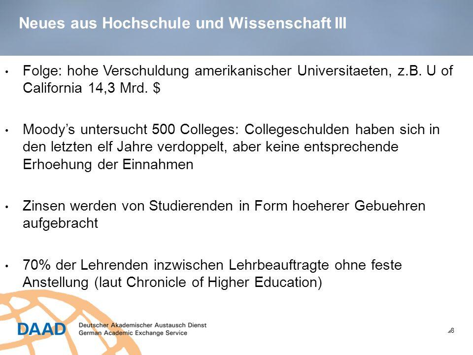 Neues aus Hochschule und Wissenschaft IV 9 Die gesammelten Studienschulden liegen bei ueber 1.000 Mrd.