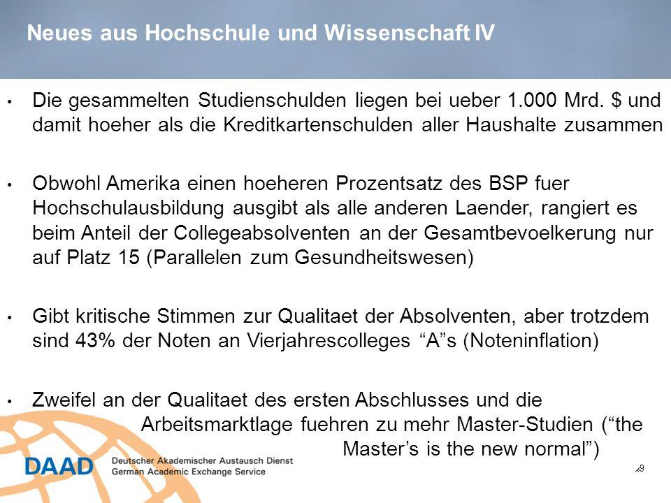 Bildungsmarktanalyse USA: Chancen fuer Deutschland (Promotion) 30 US-Studenten bewerben sich normalerweise nach dem Bachelor für die Promotion.