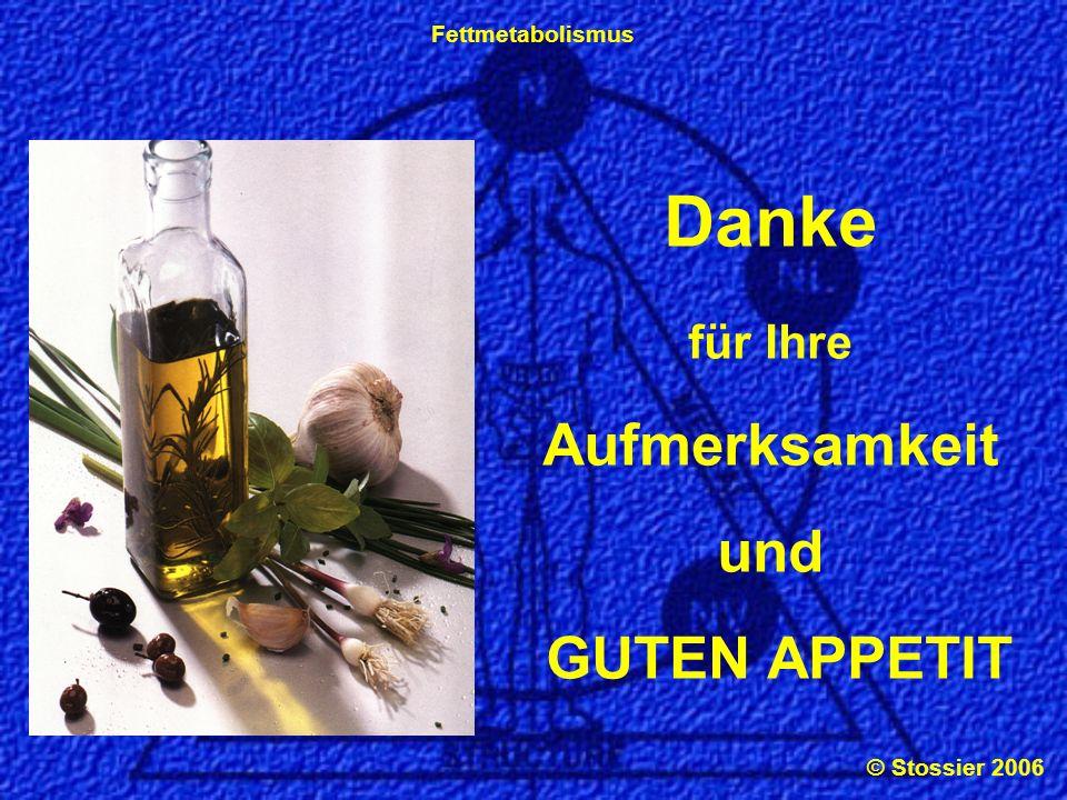© Stossier 2006 Fettmetabolismus Danke für Ihre Aufmerksamkeit und GUTEN APPETIT