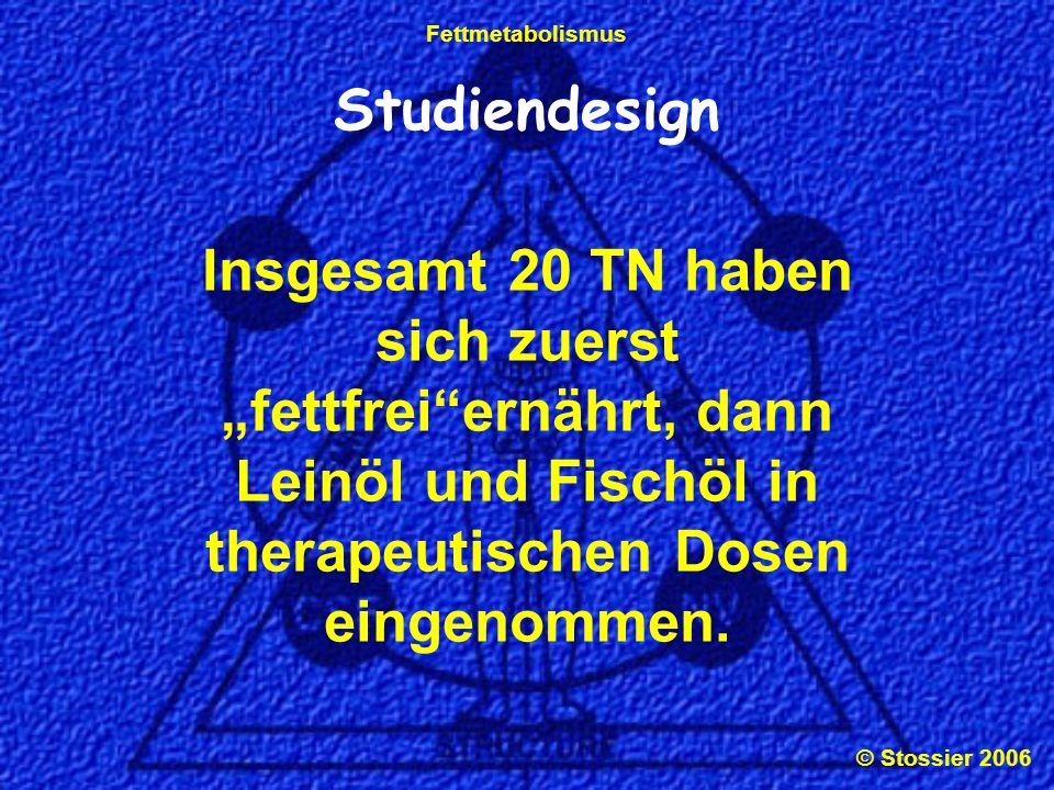 © Stossier 2006 Fettmetabolismus Studiendesign 2 Wochen fettfreie Ernährung 1.