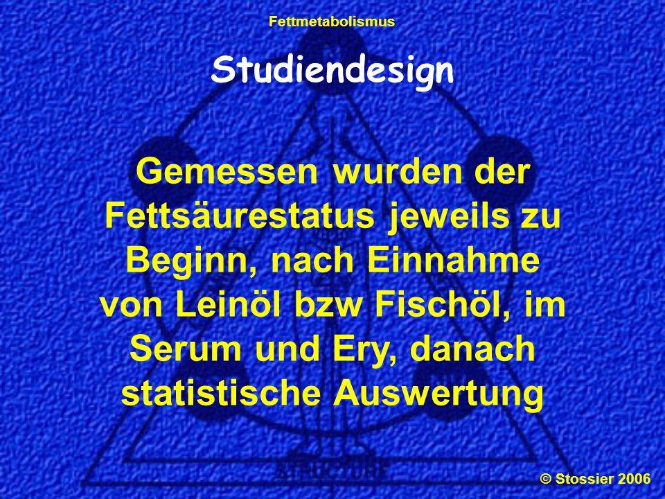 © Stossier 2006 Fettmetabolismus Studiendesign