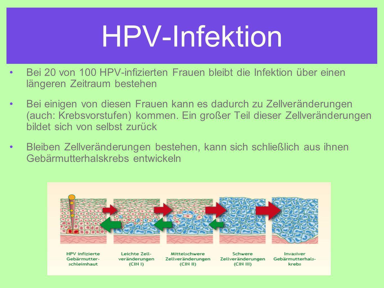 HPV-Infektion Bei 20 von 100 HPV-infizierten Frauen bleibt die Infektion über einen längeren Zeitraum bestehen Bei einigen von diesen Frauen kann es dadurch zu Zellveränderungen (auch: Krebsvorstufen) kommen.