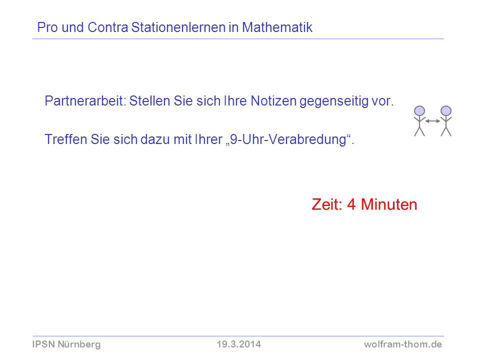 IPSN Nürnberg19.3.2014wolfram-thom.de Partnerarbeit: Stellen Sie sich Ihre Notizen gegenseitig vor. Treffen Sie sich dazu mit Ihrer 9-Uhr-Verabredung.