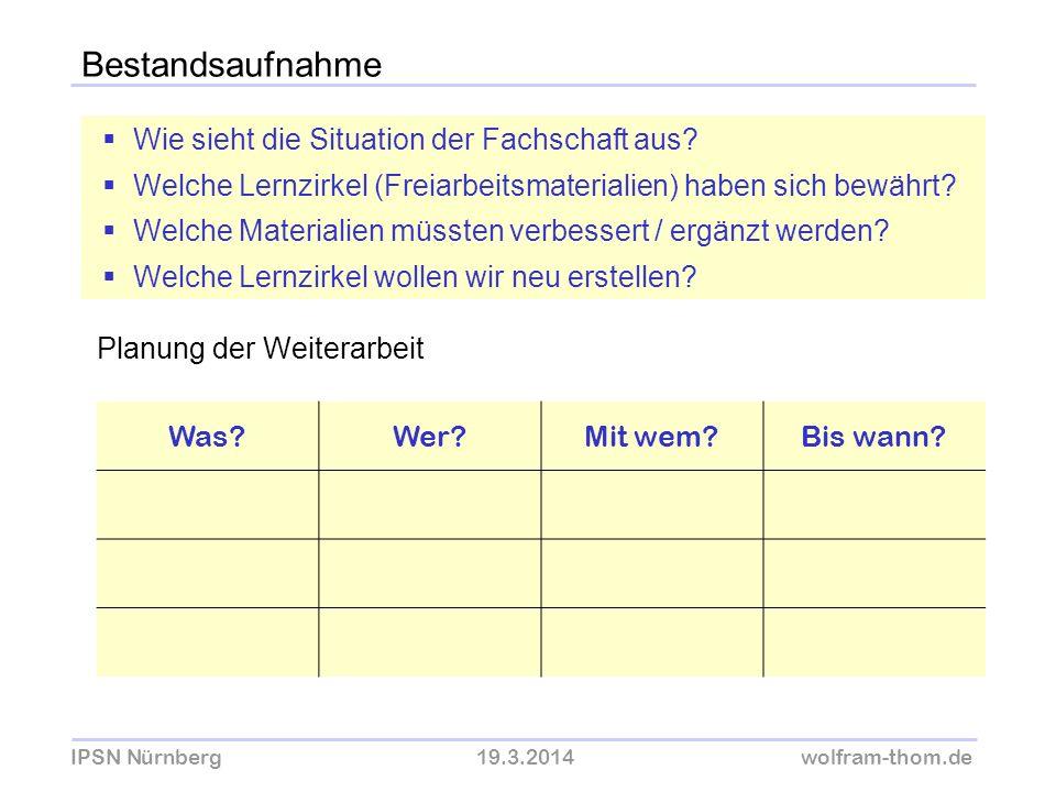 IPSN Nürnberg19.3.2014wolfram-thom.de Bestandsaufnahme Wie sieht die Situation der Fachschaft aus? Welche Lernzirkel (Freiarbeitsmaterialien) haben si