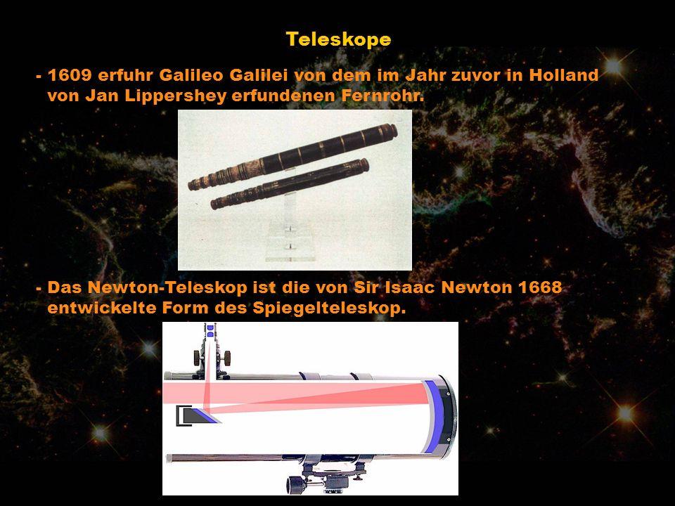 Teleskope - 1609 erfuhr Galileo Galilei von dem im Jahr zuvor in Holland von Jan Lippershey erfundenen Fernrohr. - Das Newton-Teleskop ist die von Sir