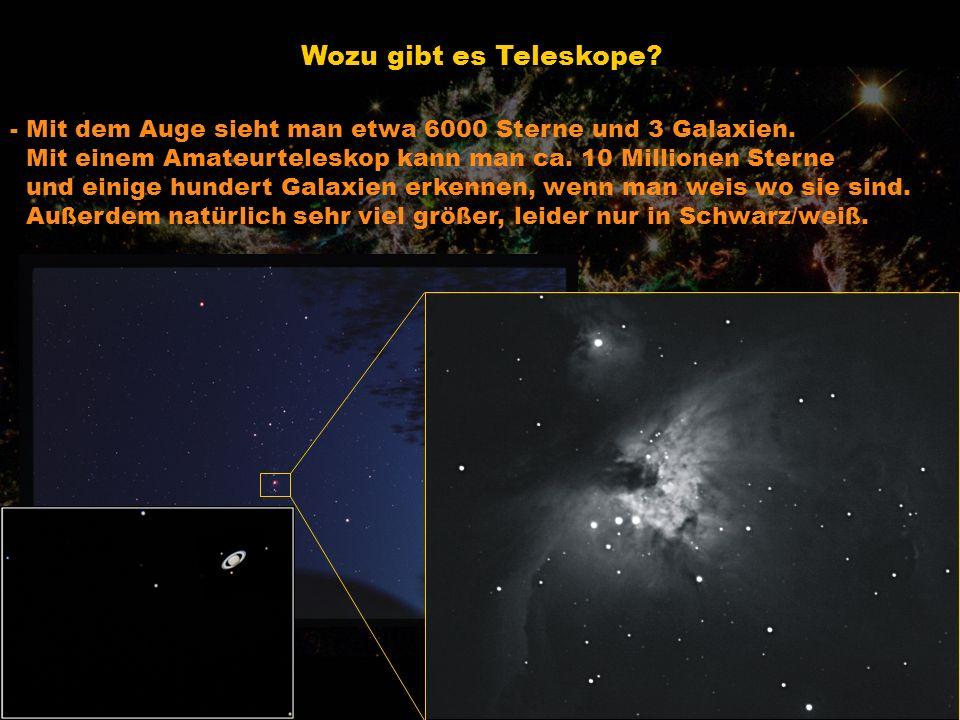 Wozu gibt es Teleskope? - Mit dem Auge sieht man etwa 6000 Sterne und 3 Galaxien. Mit einem Amateurteleskop kann man ca. 10 Millionen Sterne und einig