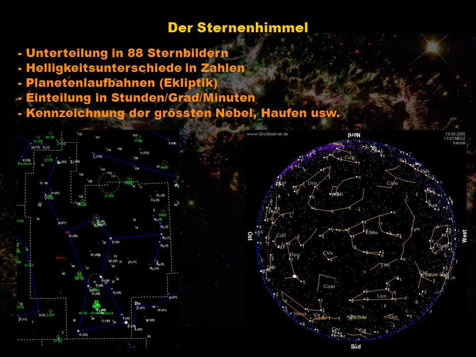 Der Sternenhimmel - Unterteilung in 88 Sternbildern - Helligkeitsunterschiede in Zahlen - Planetenlaufbahnen (Ekliptik) - Einteilung in Stunden/Grad/M