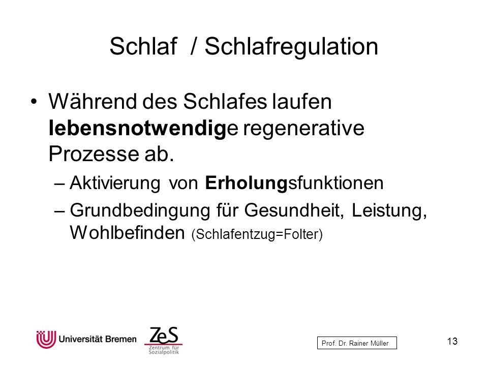 Prof. Dr. Rainer Müller Schlaf / Schlafregulation Während des Schlafes laufen lebensnotwendige regenerative Prozesse ab. –Aktivierung von Erholungsfun