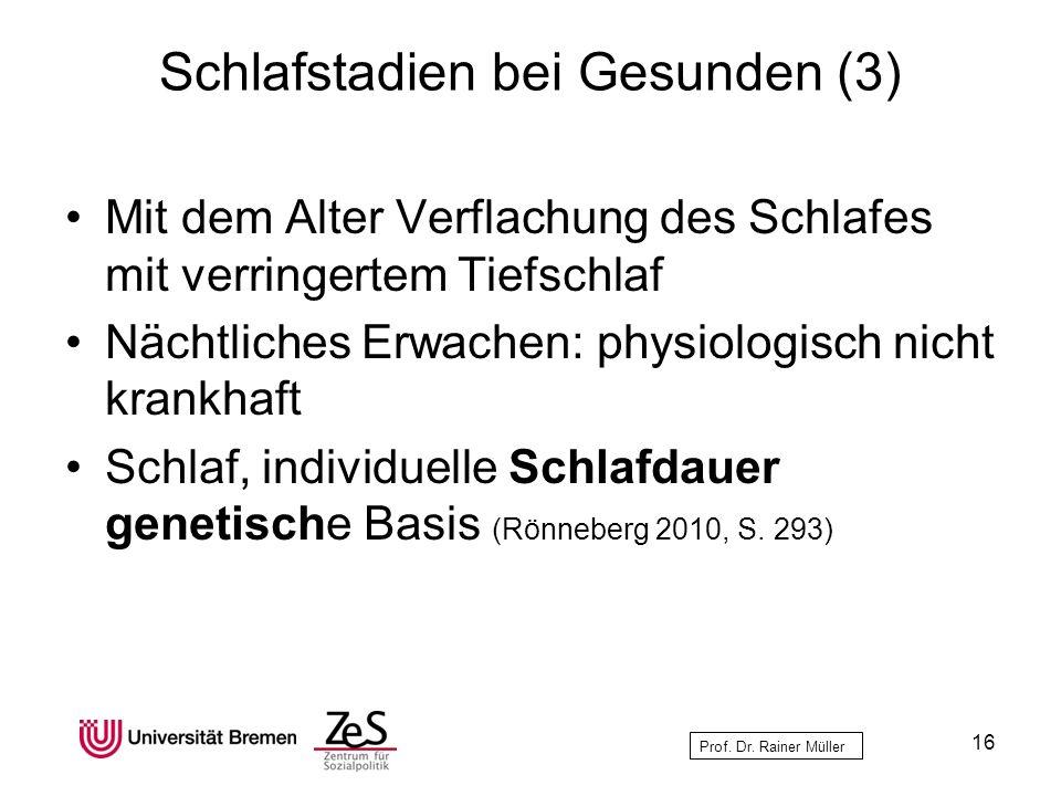 Prof. Dr. Rainer Müller Schlafstadien bei Gesunden (3) Mit dem Alter Verflachung des Schlafes mit verringertem Tiefschlaf Nächtliches Erwachen: physio