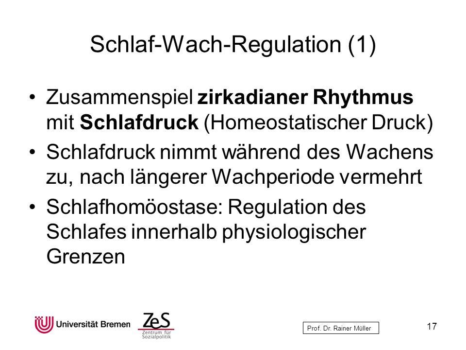 Prof. Dr. Rainer Müller Schlaf-Wach-Regulation (1) Zusammenspiel zirkadianer Rhythmus mit Schlafdruck (Homeostatischer Druck) Schlafdruck nimmt währen