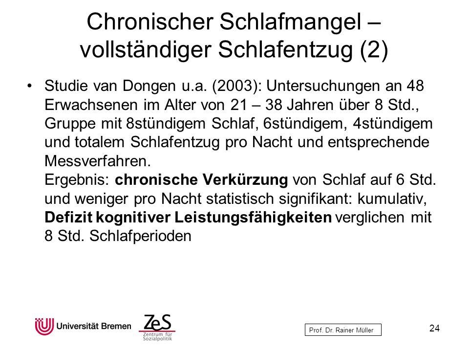Prof. Dr. Rainer Müller Chronischer Schlafmangel – vollständiger Schlafentzug (2) Studie van Dongen u.a. (2003): Untersuchungen an 48 Erwachsenen im A