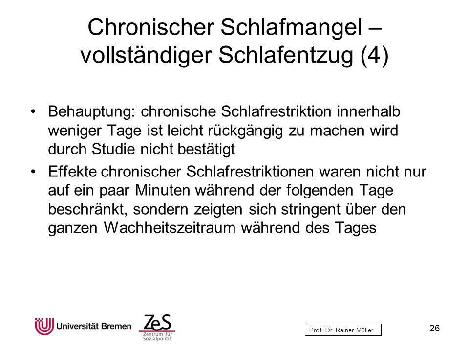 Prof. Dr. Rainer Müller Chronischer Schlafmangel – vollständiger Schlafentzug (4) Behauptung: chronische Schlafrestriktion innerhalb weniger Tage ist