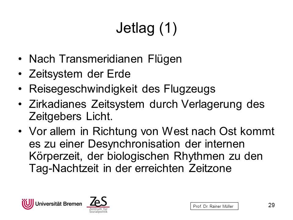 Prof. Dr. Rainer Müller Jetlag (1) Nach Transmeridianen Flügen Zeitsystem der Erde Reisegeschwindigkeit des Flugzeugs Zirkadianes Zeitsystem durch Ver