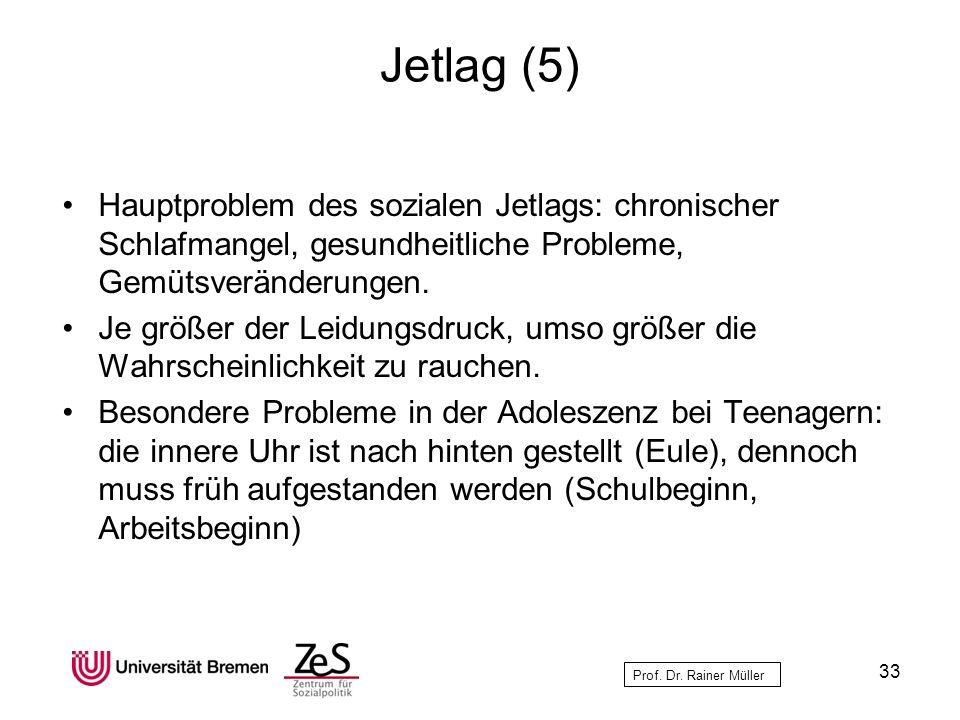 Prof. Dr. Rainer Müller Jetlag (5) Hauptproblem des sozialen Jetlags: chronischer Schlafmangel, gesundheitliche Probleme, Gemütsveränderungen. Je größ