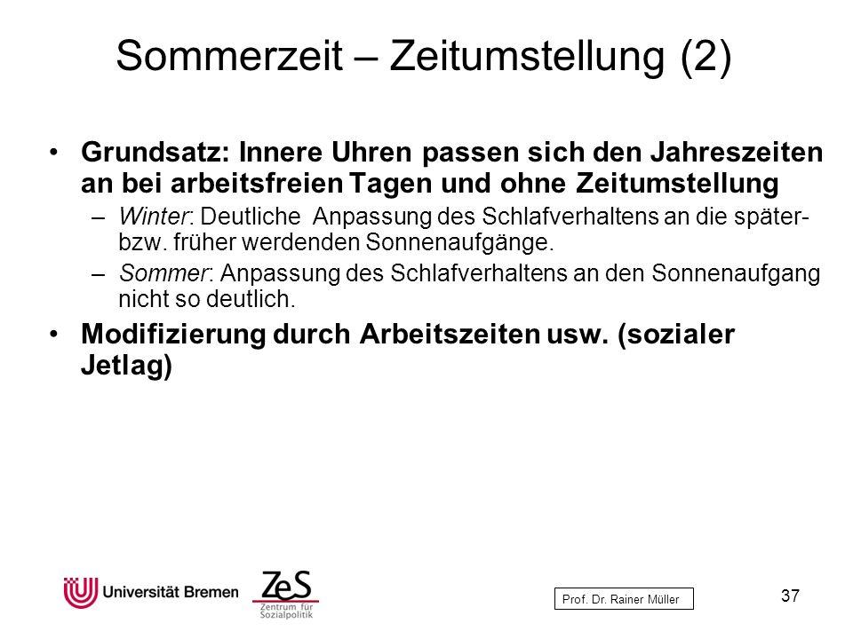 Prof. Dr. Rainer Müller Sommerzeit – Zeitumstellung (2) Grundsatz: Innere Uhren passen sich den Jahreszeiten an bei arbeitsfreien Tagen und ohne Zeitu