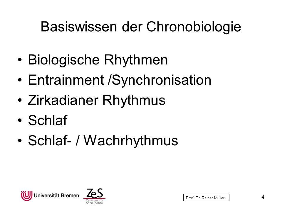 Prof. Dr. Rainer Müller Basiswissen der Chronobiologie Biologische Rhythmen Entrainment /Synchronisation Zirkadianer Rhythmus Schlaf Schlaf- / Wachrhy