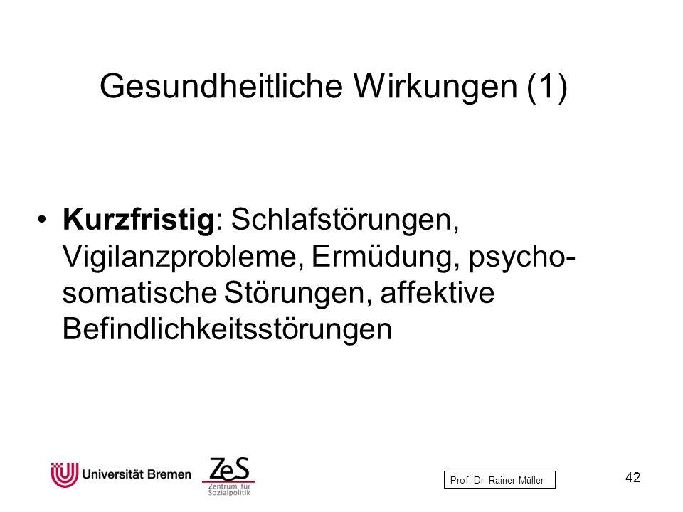 Prof. Dr. Rainer Müller Gesundheitliche Wirkungen (1) Kurzfristig: Schlafstörungen, Vigilanzprobleme, Ermüdung, psycho- somatische Störungen, affektiv