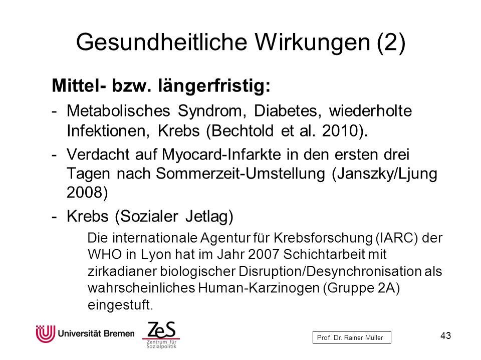 Prof. Dr. Rainer Müller Gesundheitliche Wirkungen (2) Mittel- bzw. längerfristig: -Metabolisches Syndrom, Diabetes, wiederholte Infektionen, Krebs (Be